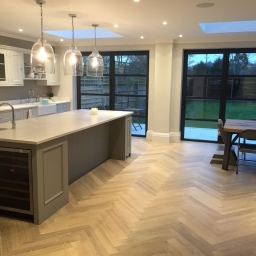 Oak Multilayer Herringbone Dark Smoked White Reaction Stain Matt Lacquer