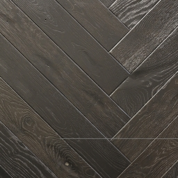 Oak Multilayer Herringbone MIDNIGHT Black Satin Lacquer B9014