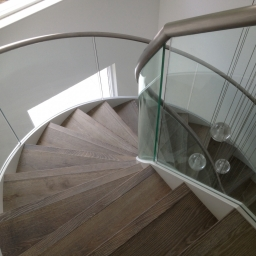 Bespoke Stair Case White Reaction Stain Matt Lacquer