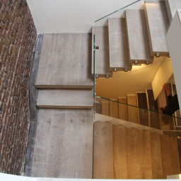 Bespoke Stair Case Floating Sawn Smoked White Lacquer