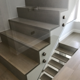 2 Different Bespoke Stair Cases Smoked Stain White Grey Lacquer