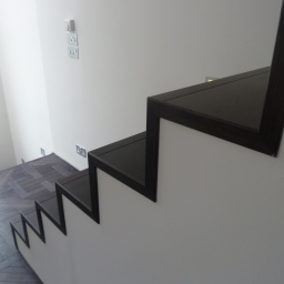 90 Degree Stair Case Black Stain Matt Lacquer